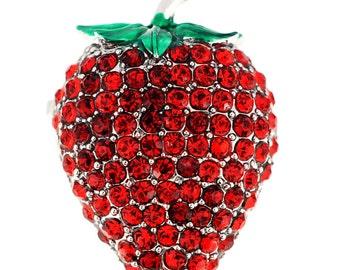 Red Strawberry Crystal Pin Brooch 1002354