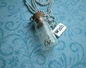 Original Glass vial bottle Dandelion seed MAKE A WISH Necklace