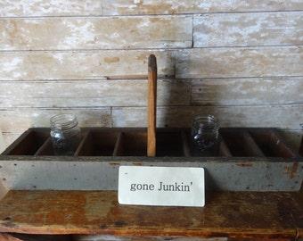 Vintage Primitive Wooden Tool Holder Handmade