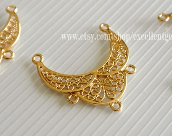 4 - 14k Gold plated over brass fancy filigree connector, pendants, High quality finding, HSBR-1018