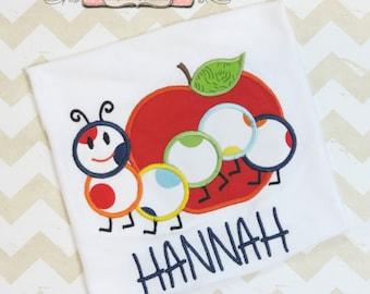 Back to School Shirt, Apple and Bookworm Shirt, Applique Shirt, Toddler Girls Shirt, Personalized Shirt