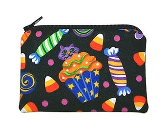 Halloween Cupcake Coin Purse Trick-or-Treat Candy Small Zipper Pouch