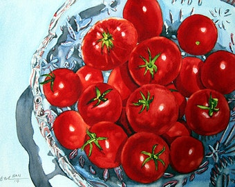 Cherry Tomato, Garden, Original Watercolor Painting, Signed, Wall Art, Home Deco