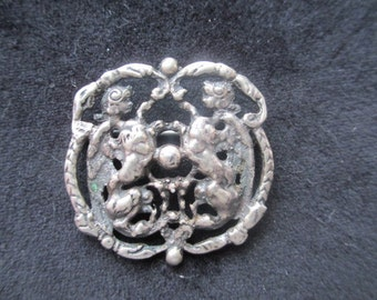 Vintage Parenti Sisters Sterling Brooch Pin With Putti