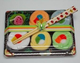 Sushi Baby Gift Set - Neutral Gender - Baby Washcloth Gift - Rainbow Roll