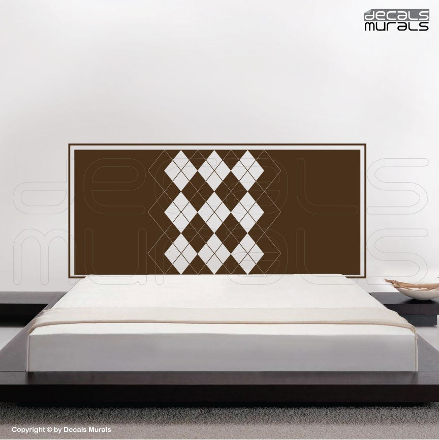 Wall decal headboard argyle print interior bedroom decor by for Mural headboard