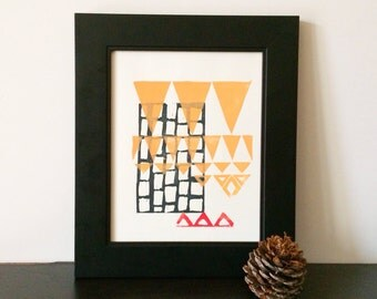 Geometric abstract triangle linocut 8x10 in peach, red, and black
