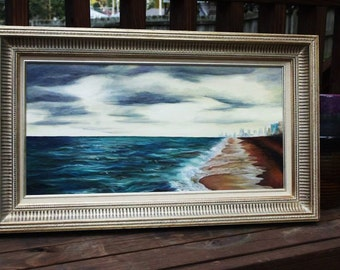 "I beautiful beach, a storm is rolling in ""Until the Skies Fall"" (original framed art) 12x24"