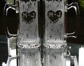 Rustic Beer Mugs Personalized with Hand Engraved Carved Tree Heart and Initials. Gift for couple. Gift for Man. Gift for Wedding.