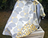 Baby Car Seat Canopy - Baby Car Seat Cover - Baby Shower Gift - Modern Canopy - Grey and Yellow Canopy