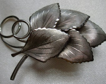 vintage Costume Jewelry  pin brooch leaf faux silver lapel hat decor
