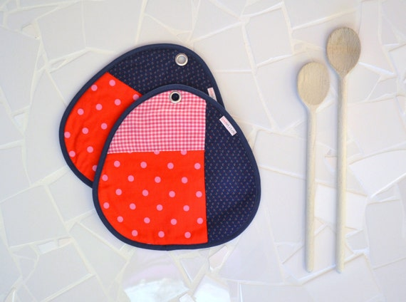fabric potholders - pink and blue patchwork pair of potholders - gingham and dotted print - large rounded potholders -  foodie gift - SALE