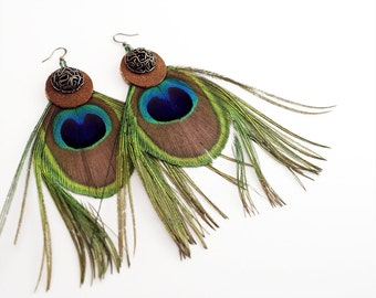 Extra Large Peacock Feather Earrings
