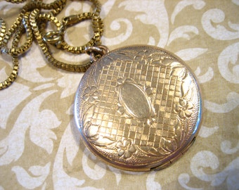 Vintage Art Deco Edwardian Gold Filled Locket Fob w Cartouche