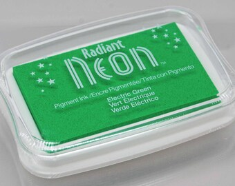Tsukineko Radiant Neon Stamp Pad -- Electric Green -- Luscious pigment ink with eye-popping color