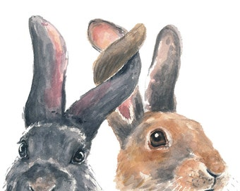 Rabbit Watercolor PRINT - 8x10 Illustration, Bunny Painting, Bunny Rabbit, Nursery Art