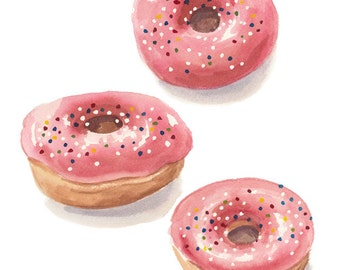 ORIGINAL Donut Watercolor Painting - 8x10 Watercolour, Pink Doughnut, Sprinkle Donut, Food Art, Kitchen Art