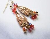 Rustic gold dangle earrings Bohemian one of a kind artisan jewelry Gold wire earrings Rustic elegance