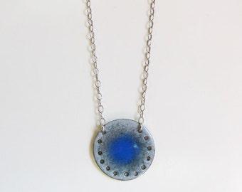 Long enamel boho pendant Blue gray medallion necklace Modern copper enameled jewelry Minimalist layering necklace