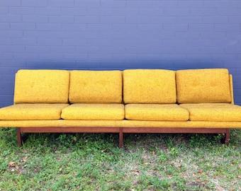 Mid Century Modern Armless Dux Sofa with Teak Legs