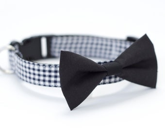 LAST ONE! 2 colors to choose from, Dog Cat bow tie Collar black bowtie, navy gingham check dog collar or candy stripe pet collar