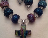 Cross Necklace, Cross, Dichroic Glass Cross, Dichroic Glass Necklace, Cross Pendant, Easter Jewelry, Easter Necklace, Easter Cross, Easter