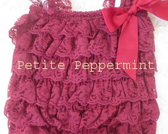Baby Petti romper, ruffle romper, lace petti romper Baby Romper,Burgundy Petti Romper Birthday Photo Prop