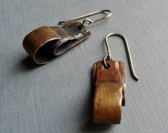 Brass Copper Folded Loop Dangle Earrings