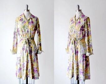 1970 floral dress. 70 watercolor dress. purple flower dress. large. collared dress. 70's yellow dress.