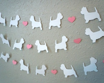 Westie Love Paper Garland - Valentine's Day Decor - Choose Your Colors