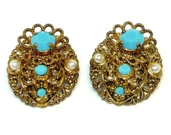 Filigree Clip on Earrings - Simulated Pearls & Turquoise  - West Germany  -Vintage Era 1960's