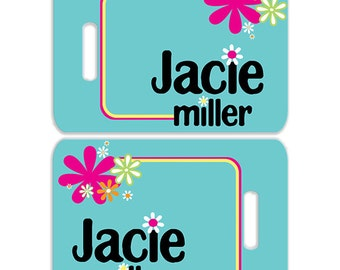 Flower Power Personalized Bag or Luggage Tag, Custom Personalized Bag Tag, Monogrammed Bag Tags, Kids Personalized Bag Tags