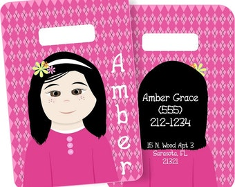 Little Me Girls Personalized Bag or Luggage Tag, Custom Personalized Bag Tag, Monogrammed Bag Tags, Kids Personalized Bag Tags