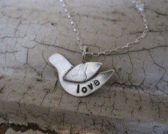 SALE sterling silver stamped bird with the word love