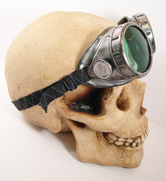 Silver Pewter Antique Distressed-Look Cyber Welding STEAMPUNK GOGGLES