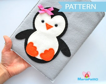 Penguin iPod Sleeve Pattern, felt iPad Sleeve, pdf Sewing Pattern  A346