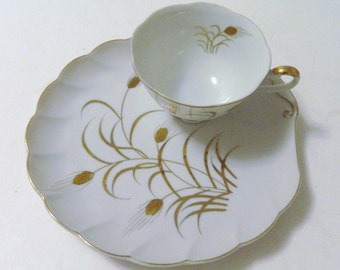 Lefton China Snack Sets Patio Sets Trimmed in Gold / Gold Wheat Pattern 2 sets