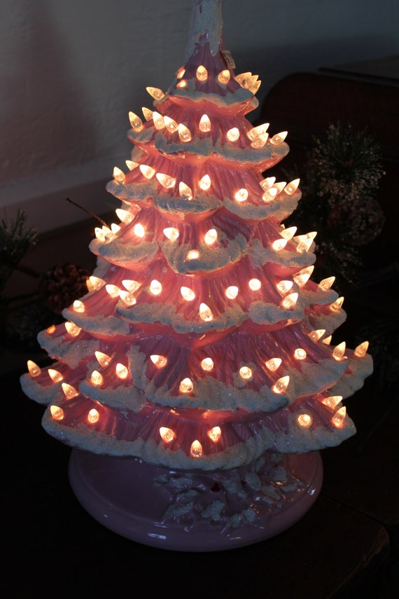 Ceramic Christmas Tree Pink With Snow Flocking And White