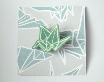 Origami Crane Graphic Shrinky Plastic Brooch pin in mint green