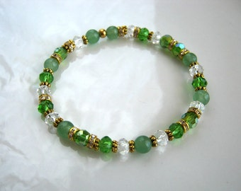 Green Jade and Crystal Stretch Bracelet Stacking Bracelet
