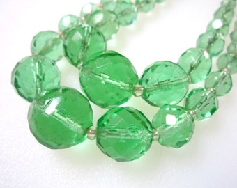 Green Glass Necklace Vintage Faceted Glass
