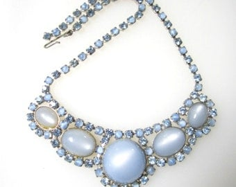 Vintage Blue Plastic Cabochon Moonglow Rhinestones Choker Necklace Glow Blue Vintage Plastic Jewelry