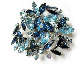 "Blue Rhinestone Brooch Large Blue Vintage Pin 2 5/8"""