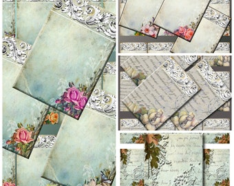 "Digital Images Collage Sheet Bundle - 4 Different Card Styles- Clip Art Elements- Digital Scrapbooking- ""Psalm 62"" Gift Tag"