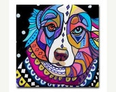 65% Off- Australian Shepherd art Tile Ceramic Coaster Mexican Folk Art Print of painting by Heather Galler Dog