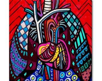 Heart Lungs Anatomy Art Tile Ceramic Coaster Medical Science Print on Tile (HG130)