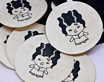Halloween Gift Tags (Double Layered) - Bride of Frankenstein Tags - Monster Tags - Favor Tags - Handmade Halloween Favor Tags (Set of 8)