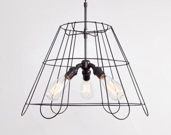 18 Inch Chandelier Vintage Lampshade Frame Pendant Light 3 Light Bulb (Small) Vintage Industrial Rustic // Cloth Covered Twisted Cord & Plug