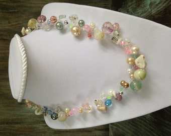 necklace with repurposed beads