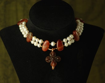 CARNELIAN CROSS: Tudor Reproduction - Queen Mary Tudor necklace with carnelian and pearls